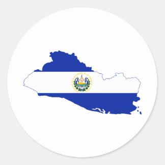 El Salvador Flag map SV Round Sticker
