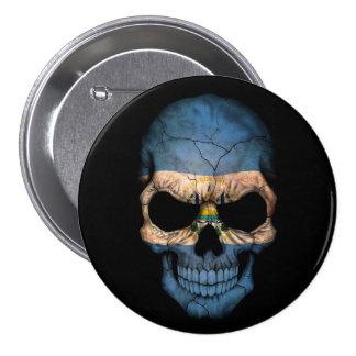 El Salvador Flag Skull on Black Buttons