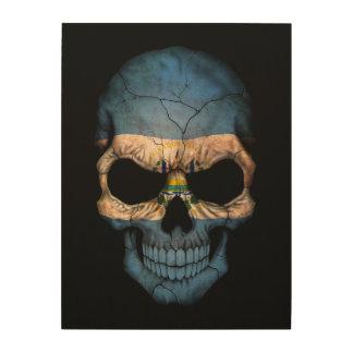 El Salvador Flag Skull on Black Wood Print