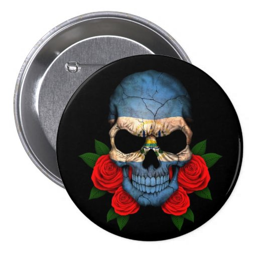 El Salvador Flag Skull with Red Roses Pin