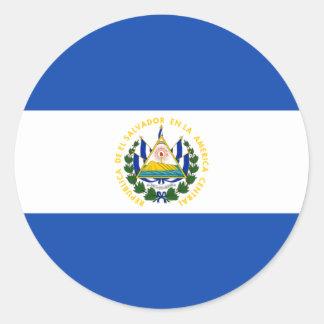 El Salvador Flag SV Round Sticker