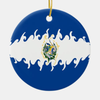 El Salvador Gnarly Flag Ceramic Ornament