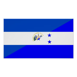 el salvador honduras half flag country symbol poster