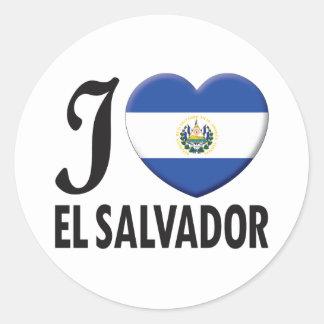 El Salvador Love Round Sticker