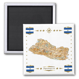 El Salvador Map + Flags Magnet