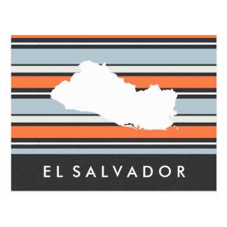 El Salvador Map: Modern Stripes Postcard