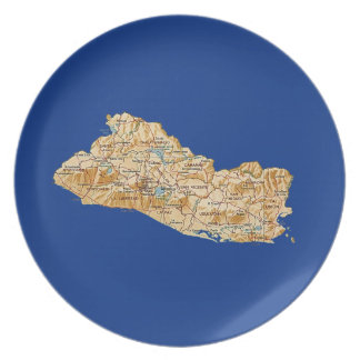 El Salvador Map Plate