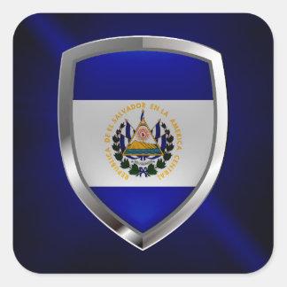 El Salvador Mettalic Emblem Square Sticker