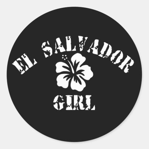 El Salvador Pink Girl Stickers