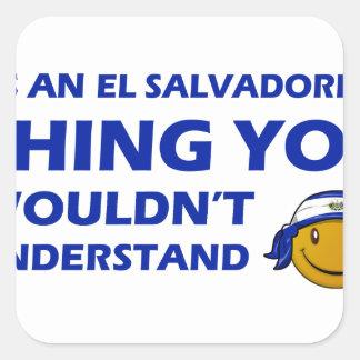 El Salvador Smiley Designs Square Stickers
