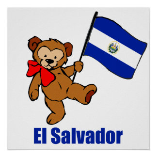 El Salvador Teddy Bear Poster