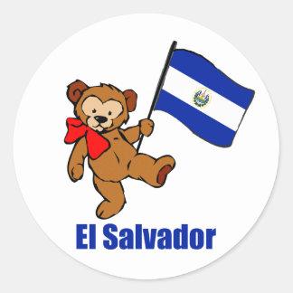 El Salvador Teddy Bear Round Sticker