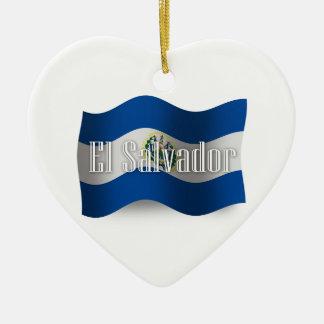 El Salvador Waving Flag Ceramic Heart Decoration