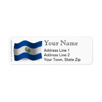 El Salvador Waving Flag Return Address Label
