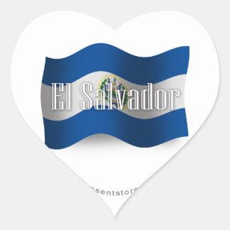 El Salvador Waving Flag Heart Sticker