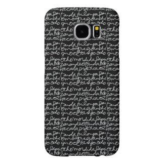 el Tango Script Phone Case, Gray on Black Samsung Galaxy S6 Cases
