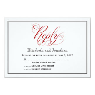 Elaborate Red and White Script Wedding Reply Card