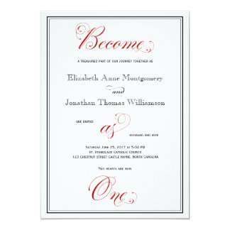 Elaborate Red Become as One Christian Wedding Card