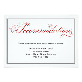 Elaborate Red Formal Wedding Accommodations Card