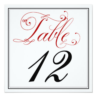 Elaborate Red Script Table Number Cards