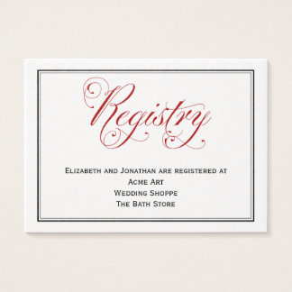 Elaborate Red Script Wedding Registry Card