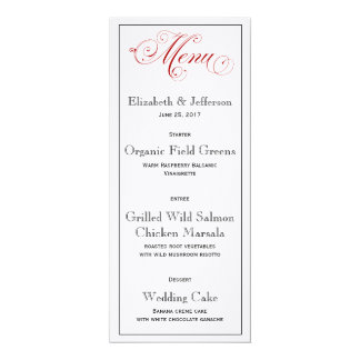 Elaborate Red Wedding Menu Card