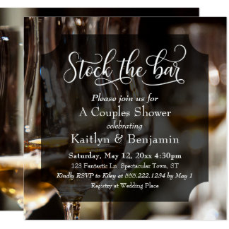Elaborate Type, Photo Stock the Bar Couples Shower Card