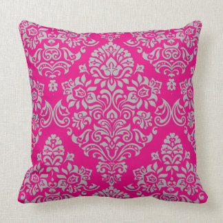 Elagant Modern Colors and Vintage Damask Pattern Throw Pillow