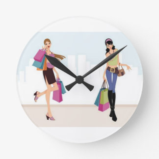 Elagant shopping ladies round clock