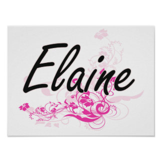 Elaine Artistic Name Design with Flowers Poster