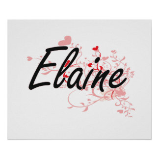 Elaine Artistic Name Design with Hearts Poster