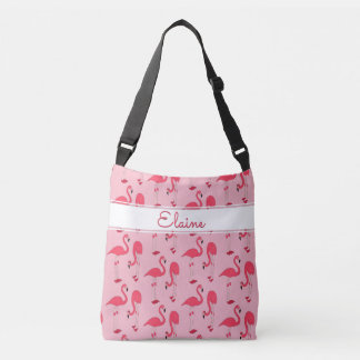 Elaine Pink Flamingos Trendy Novelty Pattern Name Crossbody Bag
