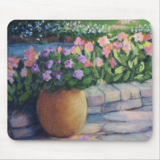 Elaine's Garden-Closeup-Gold Pot and Flowers Mouse Pad
