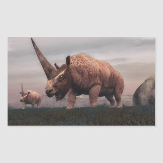 Elasmotherium mammal dinosaurs - 3D render Rectangular Sticker