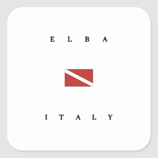 Elba Italy Scuba Dive Flag Square Sticker