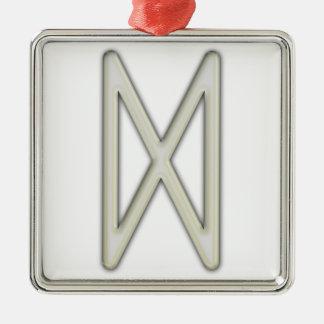 Elder Futhark Rune Dag Silver-Colored Square Decoration
