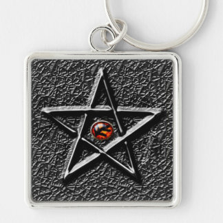 Elder Sign Silver-Colored Square Key Ring
