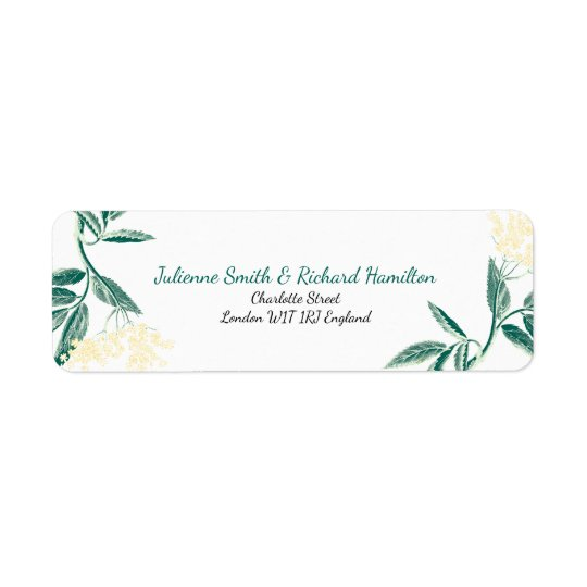 Elderberry flowers | Rustic Wedding Return Address Label