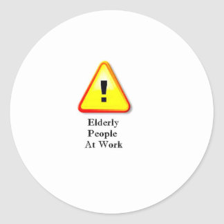 Elderly People At Work Round Sticker
