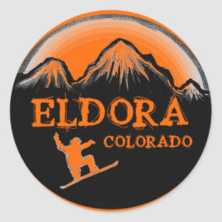 Eldora Colorado orange snowboarder stickers