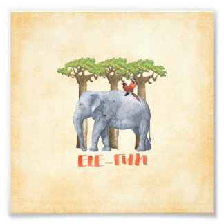 ELE-FUN - Elephant Watercolor Illustration Art Photo