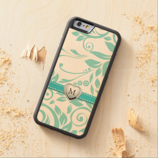 Eleagant floral damask pattern with monogram carved maple iPhone 6 bumper case