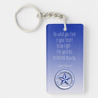 Eleanor Roosevelt Quote Single-Sided Rectangular Acrylic Key Ring