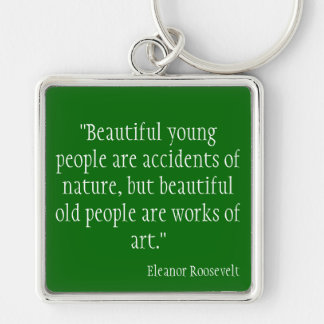 Eleanor Roosevelt Silver-Colored Square Key Ring