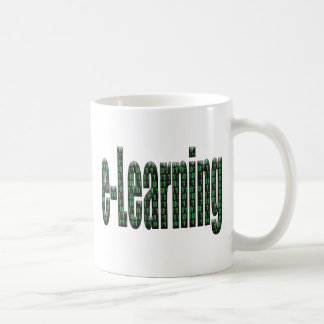 Elearning filled in with binary code coffee mug