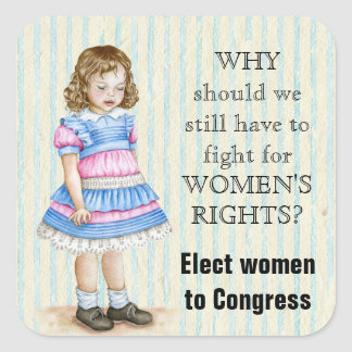 Elect Women to Congress Vintage Girl Square Sticker