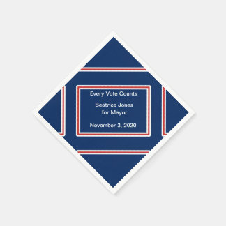 Election Candidate Motto Red White Blue Template Paper Napkins