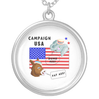Election Day Campaign USA Round Pendant Necklace
