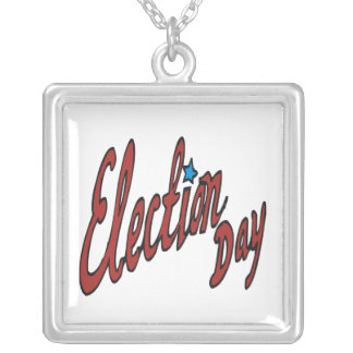 Election Day Square Pendant Necklace