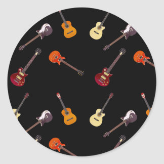 Electric & Acoustic Guitar Collage Round Sticker